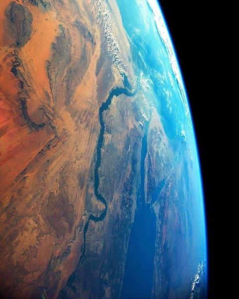 Река Нил, вид с Международной космической станции (МКС)