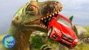 Мультики про машинки Динозавр напал на Трейлер, Желтый джип, Трактор и Полицейский пикап