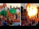 Dramatic moment : Party balloons explode in a giant FIREBALL at the Allen Career Institute in India