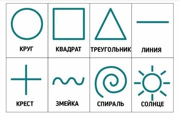 СЕНСОРНАЯ ИГРА РИСУЕМ ФИГУРЫ НА СПИНЕ Скачайте, распечатайте и вырежьте карточки с простыми геометрическими фигурами (символами).Познакомьте ребенка с карточками, прочитайте ему их названия.