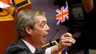 Nigel Farages final speech to European Parliament cut short after he waves flag