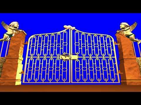 Футаж Золотые ворота с купидонами хромакей