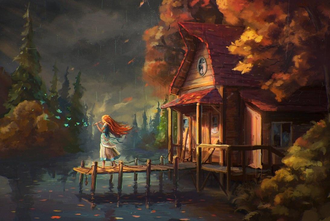 осень, домик, река, рыжая девочка с флейтой