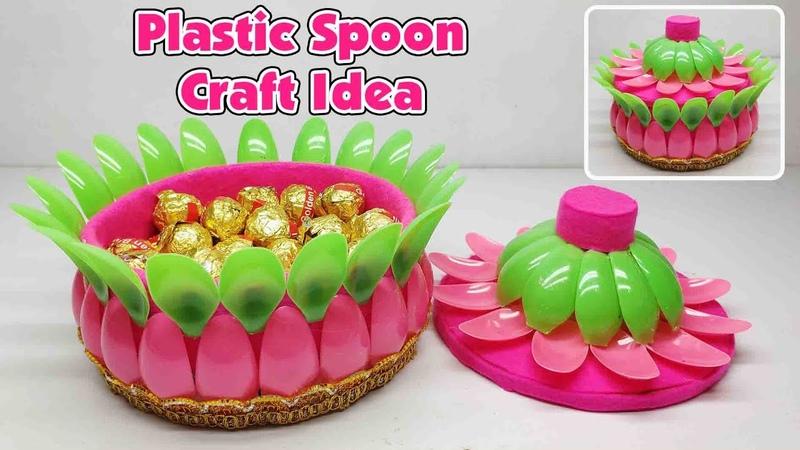 Ide Kreatif Tempat Permen Dari Sendok Plastik Candy Place Plastic Spoon Craft Ideas