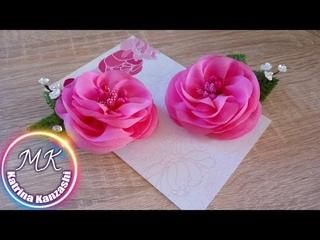Цветы на зажимах, канзаши МК./ Flores nos clipes, kanzashi MK