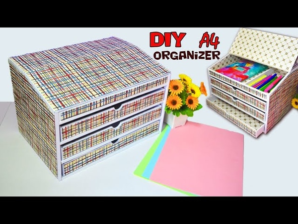 DIY ORGANIZER with drawers FOR STORING PAPER A4 from cardboard