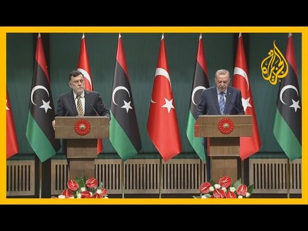 🇱🇾 🇹🇷 مؤتمر صحفي للرئيس التركي رجب طيب أردوغان ورئيس المجلس الرئاسي في ليبيا فايز السراج