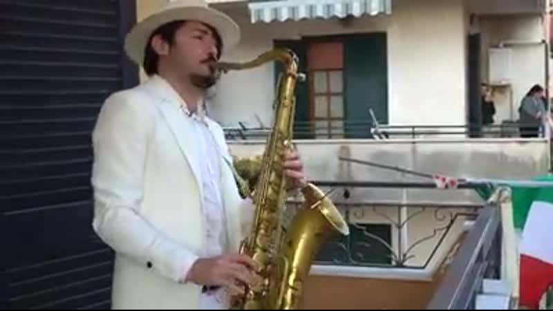 Bella Ciao - Balcony SAX Performance in Italy.