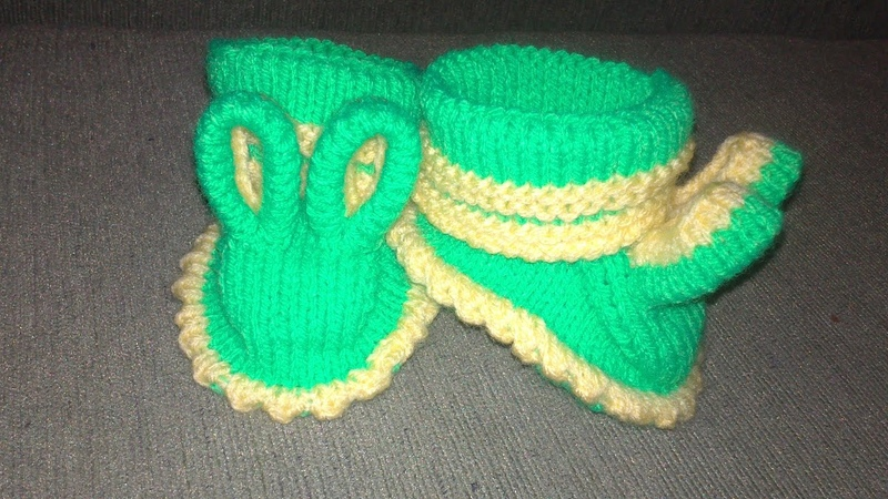 Вязаные пинетки спицами knitting booties пинетки зайчики Часть 2 Пинетки спицами для начинающих