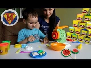 Play Doh 2017 Делаем Спагетти овощи зверят Машинка для Лапши Лепим и играемся с пластилином B9013