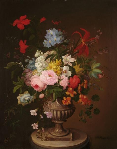 """Хенрика Бейер, """"Цветы в вазоне"""", 1823 год."""