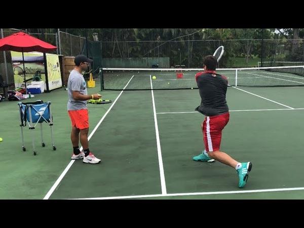 Tennis training Coach Dabul with Federico Gomez D1 college player Nadal Federer Murray drills
