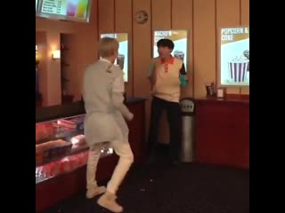 Their reactions when hoseok caught the popcorn yoongi threw in his mouth