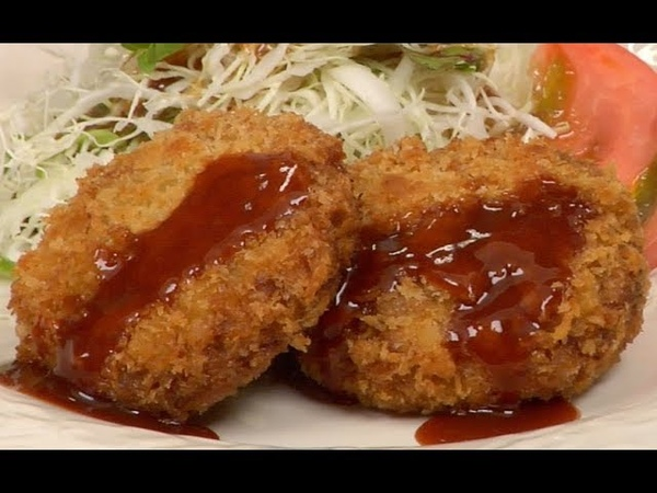 Menchi katsu Recipe Deep Fried Breaded Ground Meat Cooking with Dog