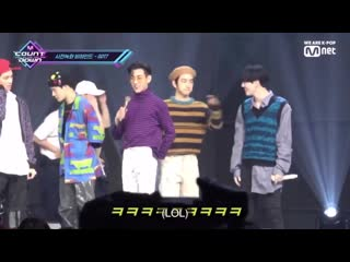 Yugyeom was playing with bambam's butt and jinyoung shoo him away