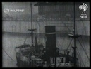 UK: NEWCASTLE: New Singapore dry dock is towed along river Tyne for journey to Singapore (1928)
