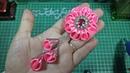 112) DIY - Tutorial kanzashi flower    Cara Membuat Bros bunga galau pita 5 cm dengan juntai