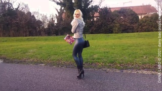 DANA LABO - walking in the parck, metalic leggings, pleaser leather boots high heels and jacket