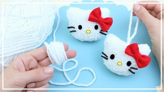 Милая Кошечка Хелло Китти из Ниток 🧶🐱 Cute Hello Kitty of yarn Making 🧶 DIY NataliDoma