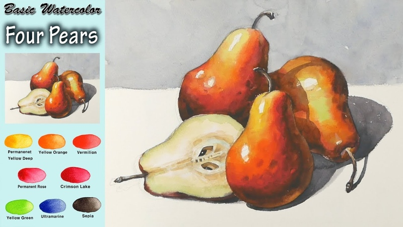 Basic watercolor - Four Pears (wet-in-wet. Arches rough).NAMIL ART