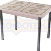 Стол кухонный Каппа ПР ВП МД 02 пл 52, молочный дуб, плитка с греческим орнаментом