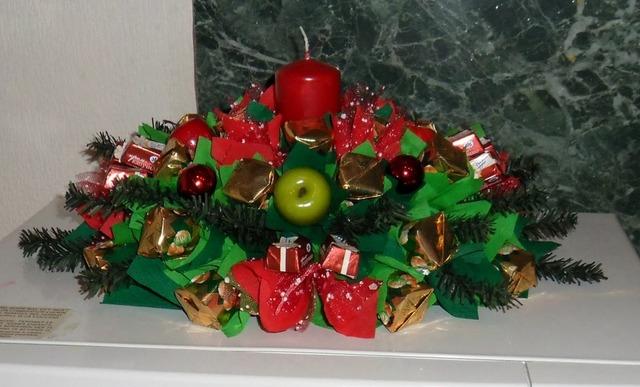 как сделать новогодний букет из конфет своими руками для начинающих фото пошагово,
