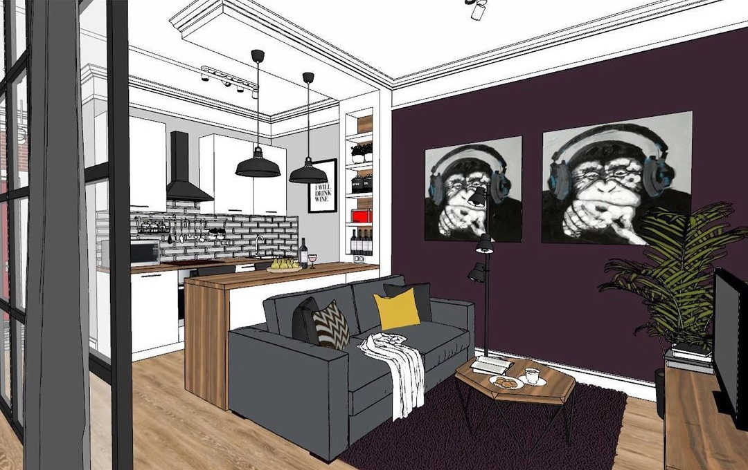 Дизайн-проект в технике скетч: квартира 42 кв.