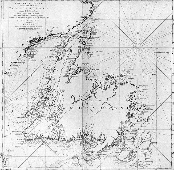 Карта Ньюфаундленда, сделанная Куком в начале 1760-х годов. Опубликована в 1775 году.