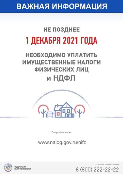 Уплатить налоге не позднее 1 декабря 2021 года