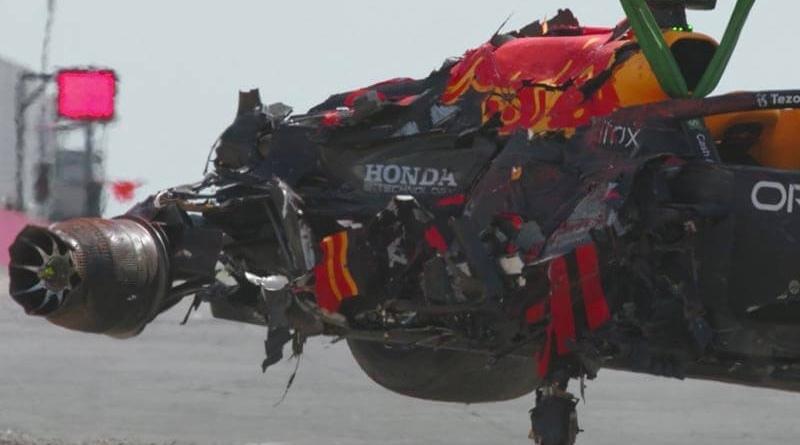 Max Verstappen's car after crash at Silverstone GP
