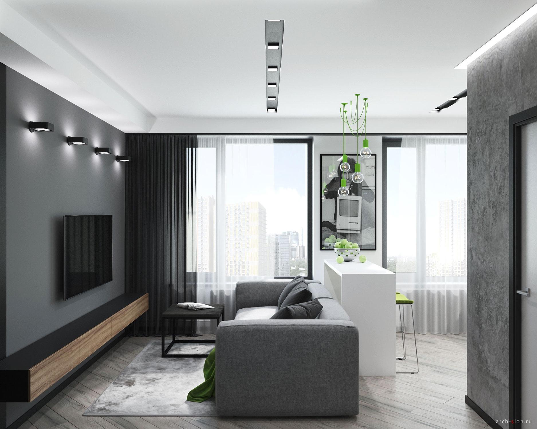 Проект квартиры квадратной планировки 33 кв.