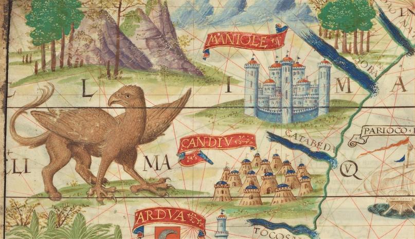 Грифон. Фрагмент карты из Атласа Миллера (1519)