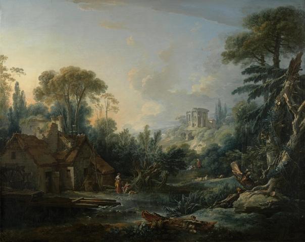 «Пейзаж с водяной мельницей», Франсуа Буше