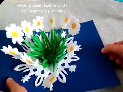 TARJETA POP UP CON FLORES EN 3D Como Hacer Cartas Tarjetas Fáciles y Bonitas