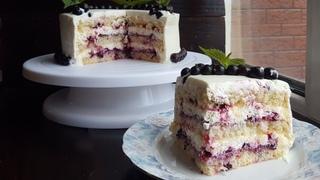Торт с творожным кремом и смородиновой пропиткой