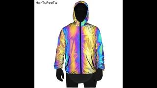 Светоотражающая куртка для женщин и мужчин в стиле хип хоп, уличная мода, яркое радужное повседневное светящееся пальто,
