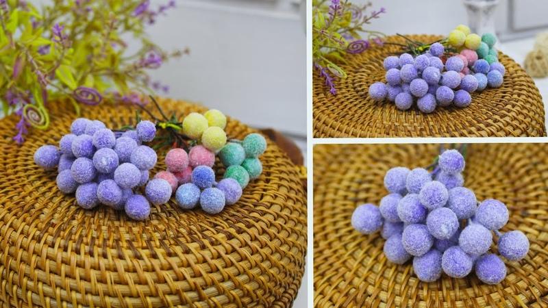 Декоративные бархатные ягодки с ворсом Такие ягоды в продаже не видела делаю их своими руками