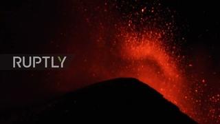 Italy: Mount Etna spews lava lighting up night sky