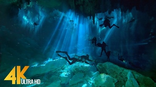 4K Cenotes Dive Relaxation Video - Mexican Underwater Caves - Incredible Underwater World - 3 HOUR