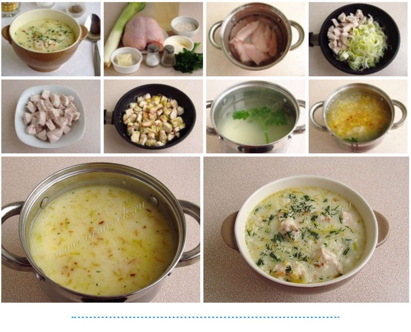 Сырный суп с курицей по-английски