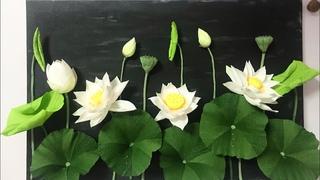 Bella's Craft/ How to make Lotus flower by crepe paper / Hướng dẫn làm hoa và nụ hoa sen bằng giấy