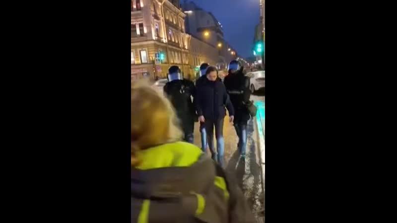 Фонтанка публикует видео с площади Восстания в Петербурге на котором боец ОМОНа ударил женщину ногой