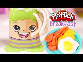 Play Doh Breakfast Set 🌭 Play-Doh Crazy Cuts Hair Designer Family Adventures in Play Doh Hair Salon