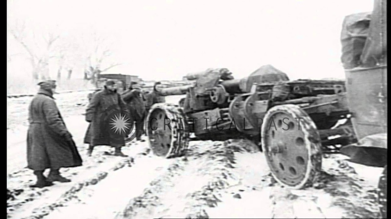 German infantry and armor attacks a village on the Eastern Front during World Stock Footage
