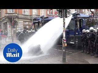 Riot police use water cannons at Hamburg May Day demonstration