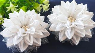 БЕЛЫЕ БАНТЫ в ШКОЛУ. Цветы из атласных лент и фатина