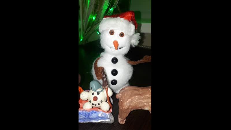 Участник №94 Семья Лаптандер Снеговичок пластилиновый бочок и друг его Снеговичок ватный бочок