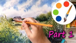Watercolor, Painting a summer landscape with houses and a lake, how to paint trees, part 1